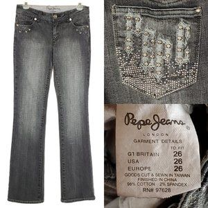PEPE JEANS Bootcut Mid Rise Gray Jewel Pockets